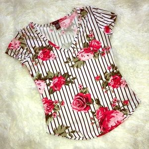🌺 Floral & Striped Tee 🌺